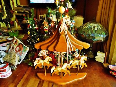"""1 Large Used Wood Carousel Wall Or Desk 3 Horses Pink Ribbons 25""""h X 19.5"""" X 5""""d"""