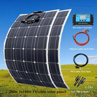 200W Solar Panel System Kit Mono Cell Module Truck Caravan 12v Battery Charging