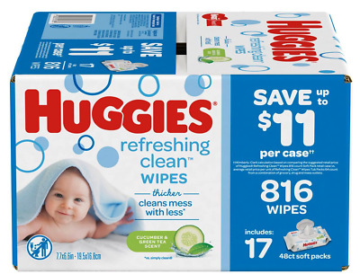 Huggies Refreshing Clean Cucumber and Green Tea Scented Baby Wipes, 17 pk./48 ct