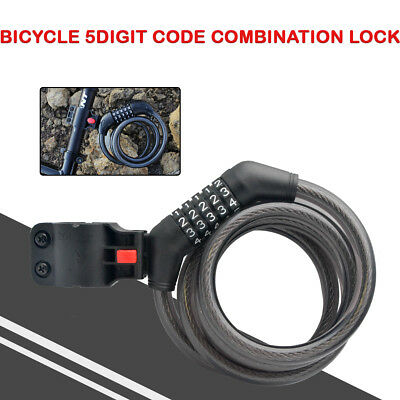 Cycling Security 5 Digit Combination Password Bike Bicycle Cable Chain Lock NEW