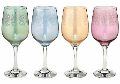 Set of 4 Italian Crystal Etched Wine Water Glasses, Luxury Handmade Goblets