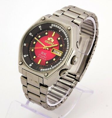 RARE Orient SK Crystal 46943 automatic men's stainless watch, 21 Jewels Red Dial