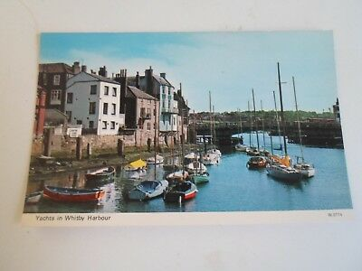 YACHTS IN HARBOUR WHITBY, Yorkshire (W.0774) Vintage Photocolour Postcard §R211