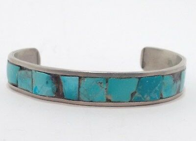 Maybe Hopi Maybe Navajo Vintage Cuff Bracelet with Channel Set Turquoise