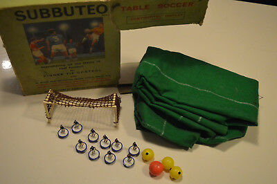 Subbuteo  Table Soccer Set Pitch, Blue Players, Goal 4 Balls In Box