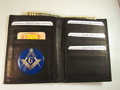 c67c986aac32 MASON MASONIC BLACK Leather Bifold Passport Wallet Card Holder New