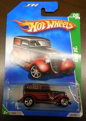 Hot Wheels 2009 Treasure Hunt's 09 '34 Ford Red #6/12 #48/190 *w/Protector*