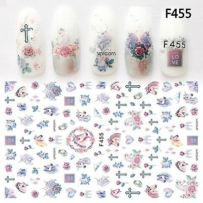 Nail Art Stickers Transfers 3D Self Adhesive Unicorns Roses (F455)