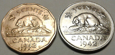 2x 1942 CANADA FIVE CENTS Coins - NICKEL + TOMBAC