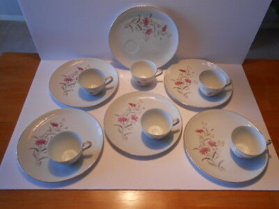 Vintage Luncheon Plates/Cups, Fine Porcelain China, Gold Trim, Set of 6