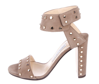 fc62975bc73  850 New NIB JIMMY CHOO Taupe VETO Size 38 Studded Sandals Shoes Heels