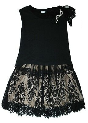 RINASCIMENTO Mini Abito Romantic Dress in maglia Nero gonna Nudo e Pizzo M 42