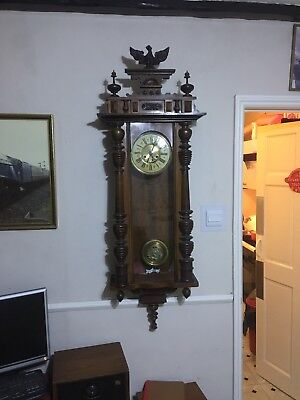 Antique Victorian Vienna Black Forrest Wall Clock Circa 1900. Very Big.regulated