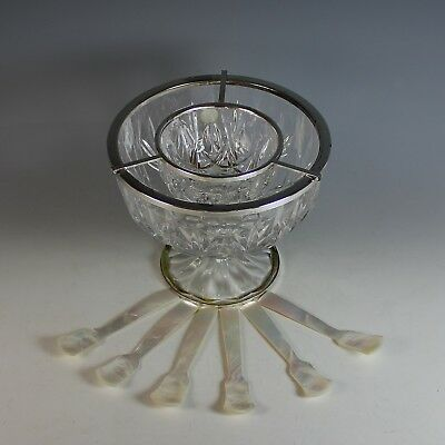 Crystal & Silverplate Caviar on Ice Bowl + MOP spoons