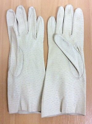Vintage Pittard's Yeovil Cream Kid Leather Gloves S-M