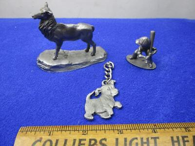 Vintage Pewter Collectibles Elk, Puppy Keychain, Boy Baseball Player   A2