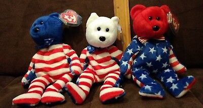 Set Of 3 Ty Beanie Babies Liberty (Blue, White  & Red).