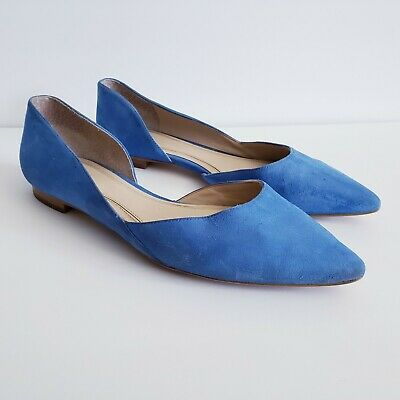 97e7a32bd05 Marc Fisher Ltd Sunny D Orsay Flat Shoes Size 8 Women s Blue Leather  Pointed Toe