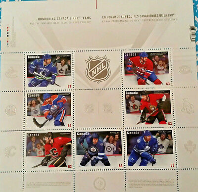 MINT / MNH Sheet Stamps Honouring Canada's NHL Teams 4,41$FV Face Value MNH