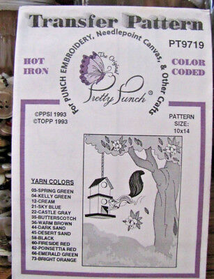 Pretty Punch Iron Transfer Pattern, Punch Embroidery - Birdhouse - #PT9719- NOS