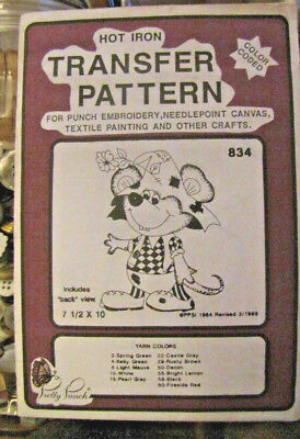 Pretty Punch Iron Transfer Pattern, Punch Embroidery, etc. - Mouse #834 -NOS