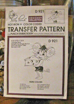 Pretty Punch Iron Transfer Pattern, Punch Embroidery, etc. -Mouse #D921 -NOS