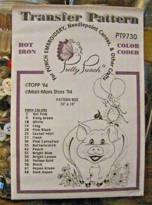 Pretty Punch Iron Transfer Pattern, Punch Embroidery - Pig & Bird #9730- NOS