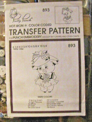 Pretty Punch Iron Transfer Pattern, Punch Embroidery, etc. - Girl Pig #893 -NOS