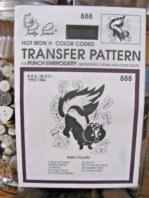 Pretty Punch Iron Transfer Pattern, Punch Embroidery, etc. - Skunk - #888 -NOS