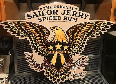 SAILOR JERRY SPICED RUM ~ Eagle Crest Tattoo 2011 NOS Metal Tin Advertising Sign