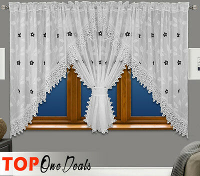 Amazing White Ready Made Voile Net Curtains with Lace Black Grey Brown Flowers