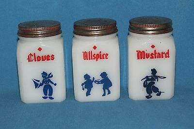 Vtg Dutch Design Frank Tea Spice Dep Milk Glass Shakers Mustard Allspice Cloves