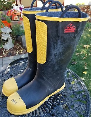 Black Diamond Fire Fighting Rubber, Felt, Nomex, Made with Kevlar Boots, sz 12m