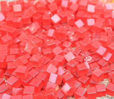 Genuine BAKELITE made  USA 1950's   red 9mm cubes 300 grams