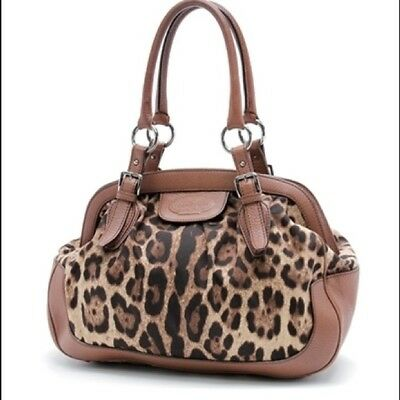 1c1ea30ce57 DOLCE GABBANA Animalier Leopard Print Canvas   Brown Leather Handbag Ret   1075