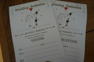 A5 Wedding Invitations/ Evening Reception BLANK/ Write your own  DIY x20 +Env