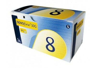NovoFine 8mm PenTips 100 Pieces 30G 2x BOXES (Expiry October 2022 or later)