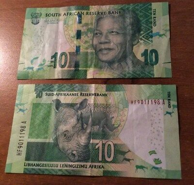 South Africa 10 ten Rand note bill circulated