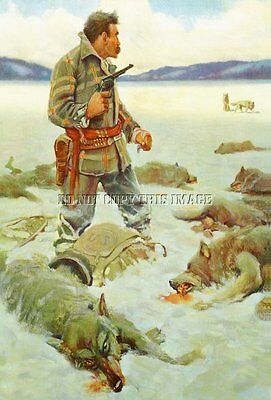 Antique Repro Photograph Print Usps Mail Carrier Fighting Off Wolves