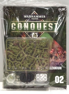 Warhammer 40,000 40k Conquest Issue 2 with Plague Marines, paint, dice & board