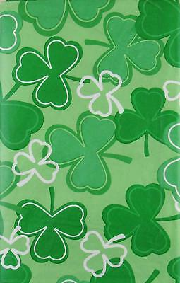 St. Patricks Day Shamrock Clovers Vinyl Flannel Back Tablecloth 60 Round