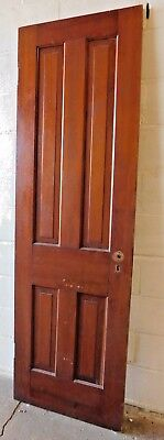 1800's Antique Wooden DOOR Interior Four Raised Panel Victorian Style Fir ORNATE