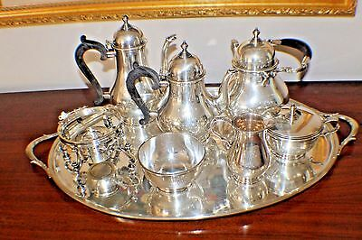 8 Pieces Gorham Sterling Silver Tea Set & Sterling Tray Monogram  Hand Wrought