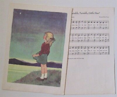 Twinkle Twinkle Little Star Nursery Rhyme Illustrated Print with Music page
