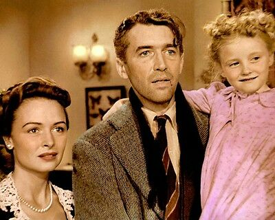 "DONNA REED JAMES STEWART IT'S A WONDERFUL LIFE 8x10"" HAND COLOR TINTED PHOTO"