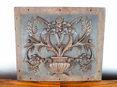 Vintage Wood Carved Wooden Wall Plaque Floral Square Gothic Carving Hanging