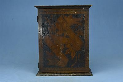 Antique FLEMISH ART PYROGRAPHY VICTORIAN COUNTER TABLE TOP LETTER BOX OLD 03565A