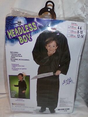 Headless Boy Childs Halloween Costume 4 - 6 New Harness w/ Neck attached Robe S