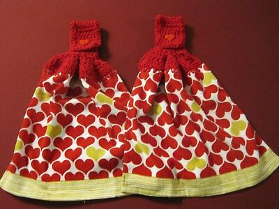 Lot Of 2 Valentines Day Red Hearts Crochet Top Kitchen Bath Hand Towels