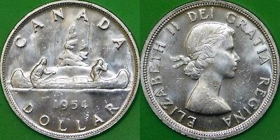 1954 Canada Silver Dollar Graded as Brilliant Uncirculated